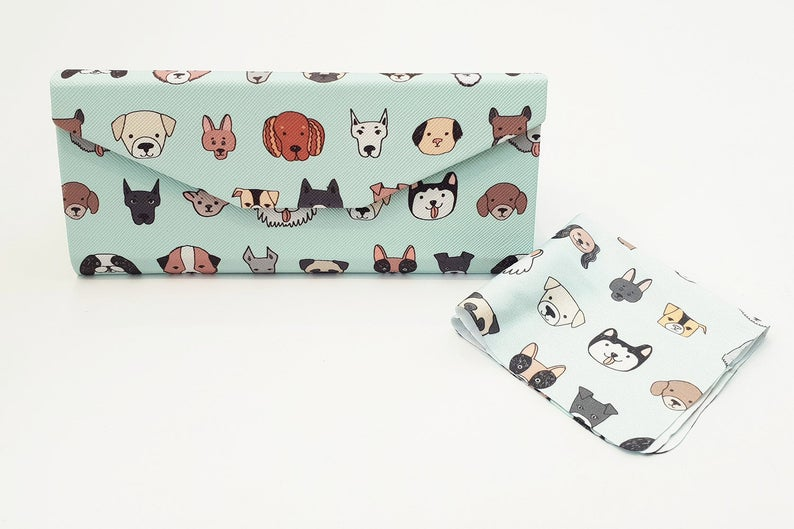 dog folding glasses case front view