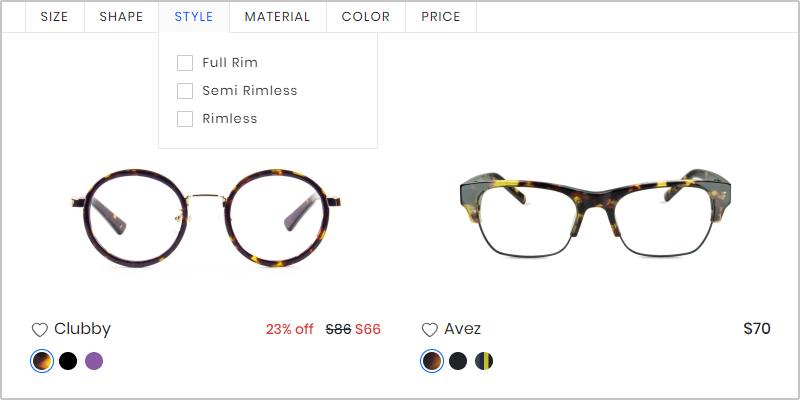 Filter to shortlist glasses frames