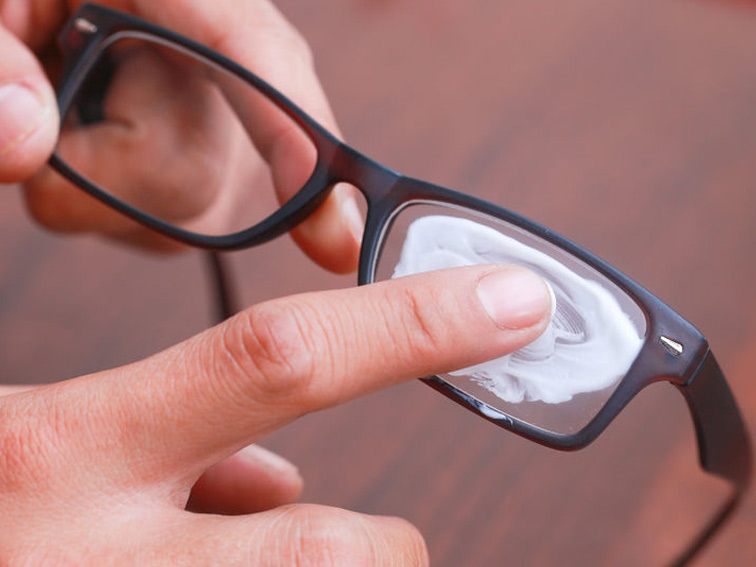 rub the soap gently on lenses