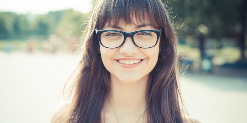 Girl Wearing Rectangle Nerd Glasses