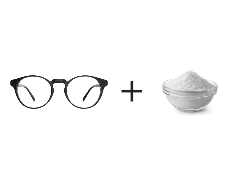 Remove glasses scratches with baking soda