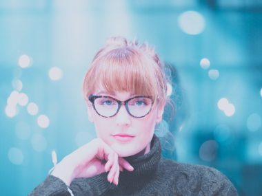 Hairstyle with cat eye glasses